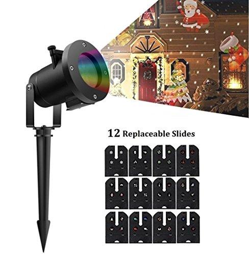 r-Lichter LED-Projektions-Lampe Scheinwerfer-Licht-wasserdichter Effekt mit 12 austauschbaren Dias für Weihnachten/ Halloween/ Geburtstag / Partei / Hochzeits-Dekoration im Freien (Scheinwerfer-halloween-dekoration)