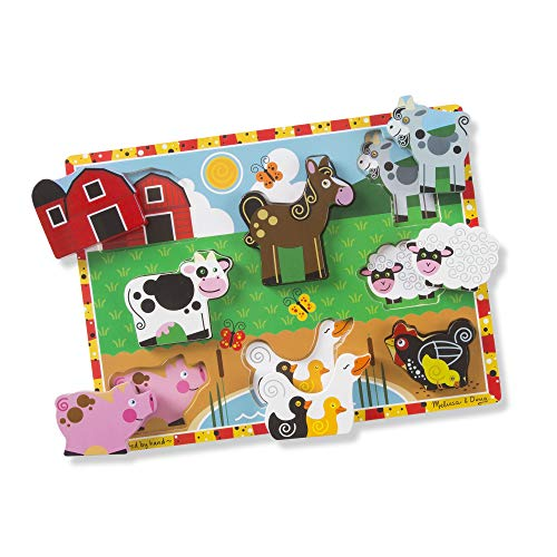 Melissa & Doug Farm Chunky Puzzle (Preschool, Chunky Wooden Pieces, Full-colour Pictures, 8 Pieces)