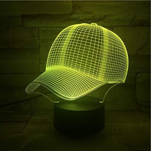 SZQLL 3D Nachtlicht Baseball Cap3D Lampe Nettes Geschenk für Teenager Nachtlicht bunt mit Fernbedienung LED Nachtlicht Lampe Hologramm Wohnzimmer Schlafzimmer Wohnkultur