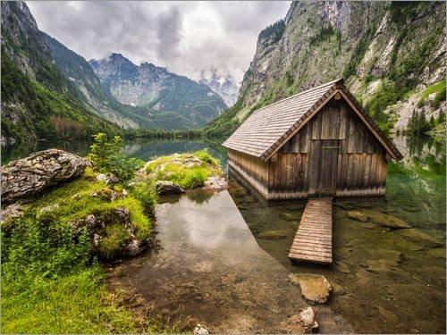 leinwandbild-110-x-80-cm-einsame-hutte-am-obersee-konigssee-von-andreas-wonisch-fertiges-wandbild-bi