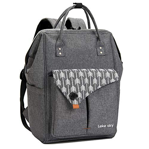 Lekesky Rucksack Damen für Schule Uni Reisen Freizeit Job mit Laptopfach & Anti Diebstahl Tasche, Grau -