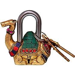 purpledip Camel geformt Messing Lock Vorhängeschloss: handgefertigt Antik Design mit farbigen Edelstein Arbeit; Einzigartige Sammlerstück Kombination aus Style & Sicherheit (10685)