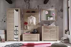 dreams4home garderoben set kuba 5 teilig flurgarderobe komplettprogramm flur diele eiche san. Black Bedroom Furniture Sets. Home Design Ideas