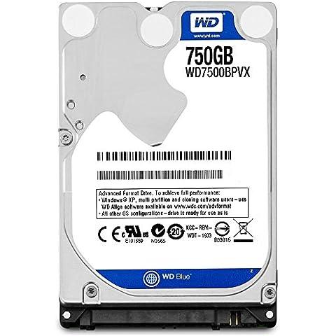WD Blue - Disco duro para ordenadores portátiles de 750 GB (9,5 mm, 5400 rpm, SATA a 6 Gb/s, 2,5