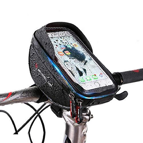 Yuede Fahrradtasche Rahmentaschen Wasserdicht, Fahrrad Handy Tasche mit Abnehmbar Handytasche (Passend bis zu 6,0 Zoll) Radfahren Vorne Top Tube Rahmen Doppel Pouch für Mountain Bike