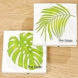 BOLTZE GRUPPE GmbH Servietten 40 Stk. Palmen-Blatt grün Natur Design 3 lagig Papierservietten