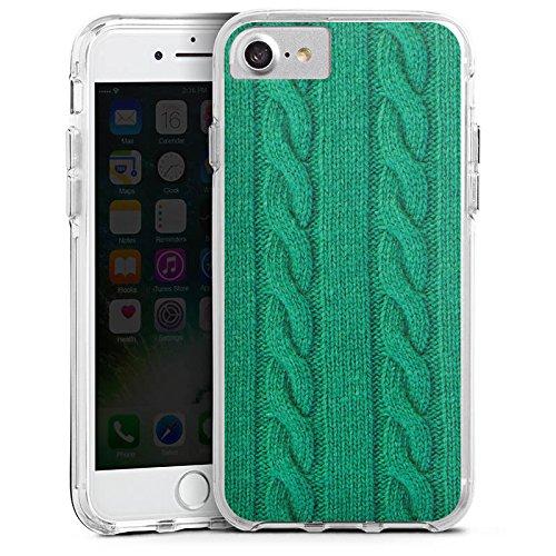 Apple iPhone 7 Plus Bumper Hülle Bumper Case Glitzer Hülle Wolle Look Strick Green Bumper Case transparent