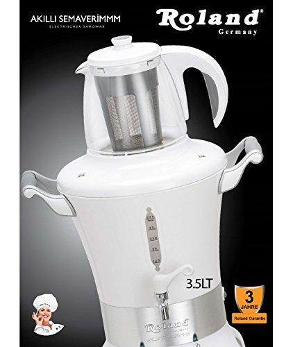 """Roland® Germany """"Smart Samowar""""""""Akilli Semaverimmm"""" elektrischer Samowar Semaver Tee Maschine Samovar/ 1700 Watt/ Füllmenge Wasserkessel 3,5 L & Teekanne (Porzellan) mit Edelstahl Sieb 1 L/ verdecktes Heizelement - 2"""