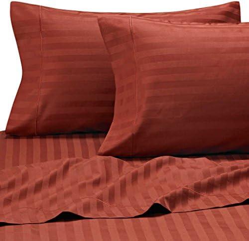 Dreamz Bedding 400 Fili Profonda Lenzuolo (Tasca Profonda Fili  25,4 cm) con 2 federe di Euro Super King, Brick rosso Stripe, Fili, 100% Cotone Extra Tasca Profonda Lenzuolo sotto 112ddb