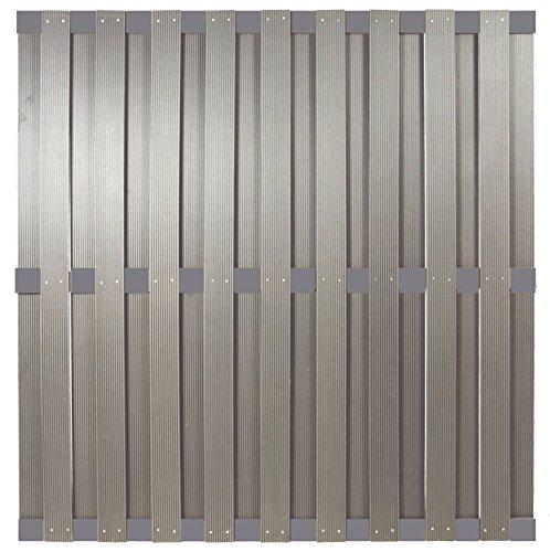 WPC Sichtschutzzaun Malmö 180×180 cm, silbergrau mit Aluminium Streben -EXTRA STABIL-