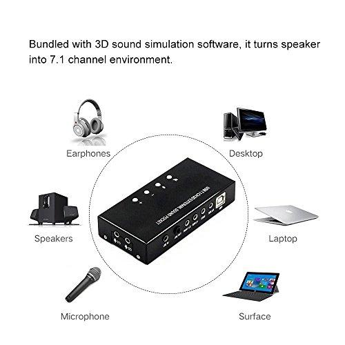 USB 7.1 CH 3D Externe Soundkarte,Miya USB Soundkarte Externe Stereo 7.1 Kanal 3D 3.5mm Aux Out Plug and Play für Unterstützung Digital Audio Streaming Vista Mit Treiber - Treiber-unterstützung