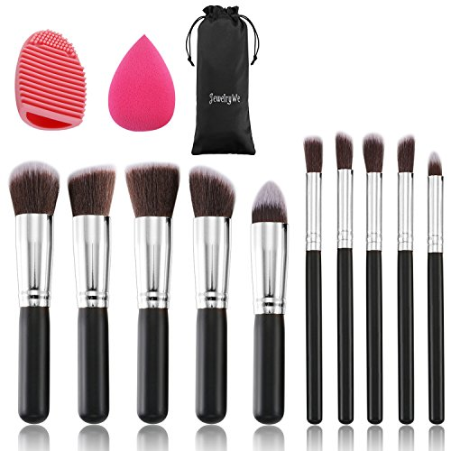 JewelryWe 10 Stück Make-up Pinselset Kosmetik Bürsten Puderpinsel Pinsel Brush Set mit Blender...