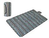 Honeystore 200*150 Flanell Wasserdichte Yoga Matte Strand Ausflug Picknickdecke Schwarz Blau Streifen