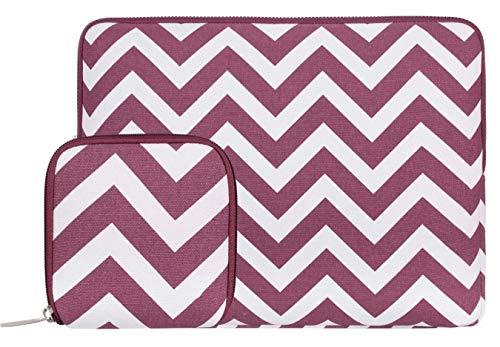 MOSISO Housse Compatible 11-11,6 Pouces Macbook Air, Ultrabook Netbook, Chevron Style Laptop Sleeve en Toile Tissu Sac Ordinateur Portable avec Petite Pochette, Vin Rouge