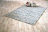 Moderner Handweb Teppich Alpen handgewebt aus Schurwolle für Wohnzimmer, Esszimmer, Schlafzimmer und die Küche geeignet (Muster, Alpen 30 Grau meliert)