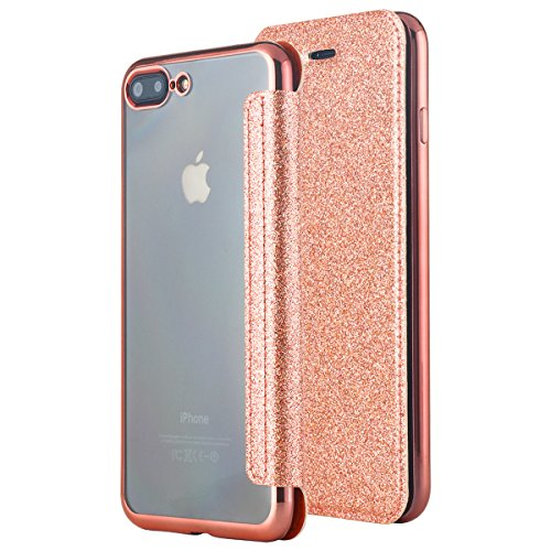 Slim Wallet Case (iPhone 8 Plus Hülle, iPhone 7 Plus Hülle,iPhone 8 Plus Case, iPhone 7 Plus Case, Snewill Glitter Sparkle Bling Slim PU Leather Folio Flip Case Card Slot Clear Soft TPU Back Cover for Apple iPhone 8 Plus iPhone 7 Plus - Shiny Rose old)