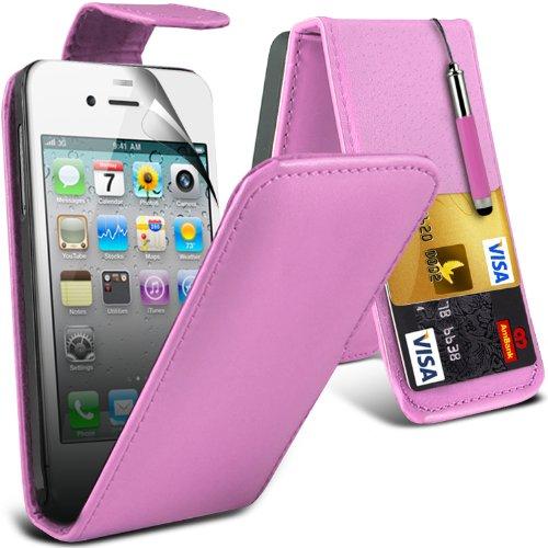 (Baby Pink) Apple iPhone 4/4S Schutzfolie Faux Leder Debit/Credit Card Steckplatz Flip Case Cover , Aus- und einfahrbarem Capacative Touchscreen Stylus & Screen Protector Guard von Aventus * * Baby Pink Hard Gummi