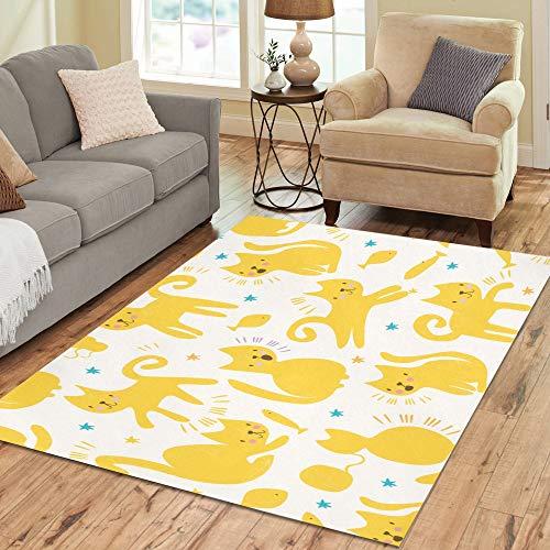 Verschiedene farbige Katze Cartoon große Rutschfeste Moderne Boden orientalischen Bereich Teppich kommerziellen Teppich Pad Mat für Keller Schlafzimmer Wohnzimmer Küche Decor 5 'X 7' - Schwarz Persian Rug