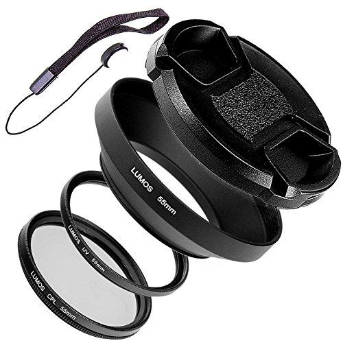55mm Gegenlichtblende Metall mit Deckel UV Filter Polfilter Objektivdeckelhalter   LUMOS Must Have Weitwinkel Kamera Objektiv Zubehör Set 55 mm