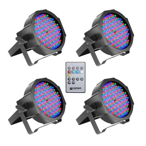 Cameo Light CLPFLAT1RGB10IRSET1 Set aus 4 PAR Scheinwerfer Spots Flat LED RGB in schwarzem Gehäuse inklusive Infrarot Fernbedienung 144 x 10 mm - Led Flat Rgb