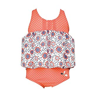 Archimède Baby Girls' Deauville Maillot BOUEES Swimsuit, Orange Corail, 12-18 Months (Size: 12M)