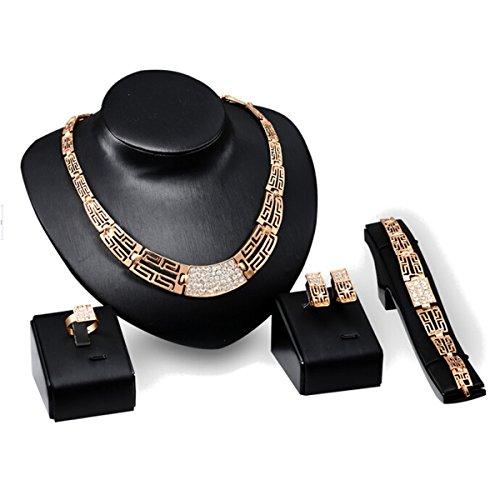Gold Plated Crystal Collana Necklace Orecchini EarRing Anello Bracelet Bracciale Braccialetto Ring Anello Jewelry Set