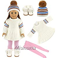 Miunana Winter Clothes For 16 - 18 Inch American Girl Dolls And Other 16 - 18 Inch Dolls : White Sweater Dress + Hat + White Snow Boots + Pink Pants