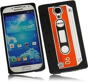 Silikon Case Retro Look Kassetten Schutzhülle in Schwarz für Samsung Galaxy S4 /i9500/i9505