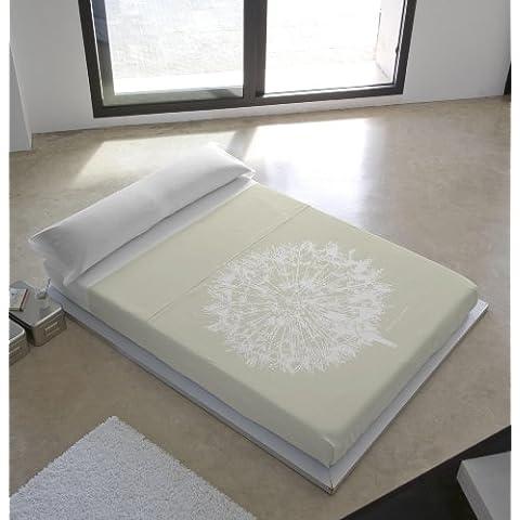 Devota & Lomba 43295 - Juego de sábanas compuesto por encimera, 160 x 270 cm, bajera, 90 x 190/200 cm, funda para almohada, 45 x 110 cm, diseño dente