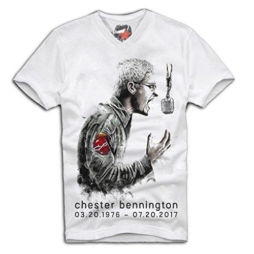 E1Syndicate V-Neck T-Shirt Chester Bennington Tribute Linkin Park