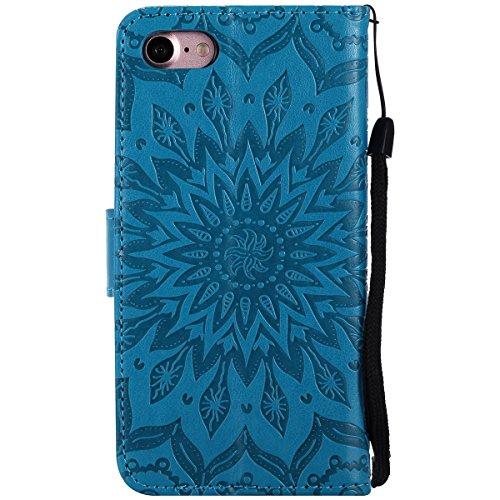 Etsue Strap Handytasche für iPhone 6 Plus/6S Plus (5.5 Zoll) Blau, Brieftasche Hülle für iPhone 6 Plus/6S Plus (5.5 Zoll) [Rosa Rose Blühen] Lederhülle Blume Handyhülle Flip Hülle Leder Schutzhülle Vi Mandala Blume,Blau