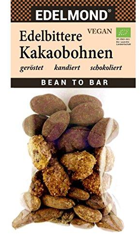 Edelmond Bio Kakaobohnen Variation. Schokoliert, pur und kandierte Naturkost ohne Allergene. Probieren sie die Schokoladen Basis: Bitter - Edelbitter - Zartbitter in einer Tüte