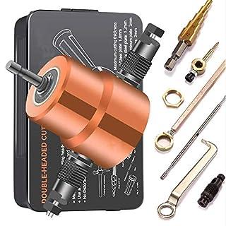 KKmoon Metall Schneidwerkzeug, Doppelkopfblatt Nibbler Schneidebogen Zubehör 360 Grad verstellbarer Bohraufsatz mit Stanzwerkzeugen