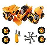 Bau-Spielzeug-LKW auseinandernehmbares Werkzeugset - Bestes Kinder Spielzeug für Jungs und Mädchen im Alter von 3 - 8 - PAKET von 3 Monster-Trucks beinhaltet einen Kipper, Betonmischer, Gabelstapler.