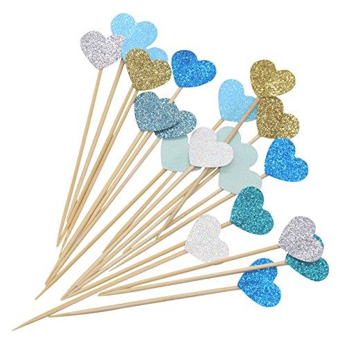 (PuTwo Kuchen Toppers 20 Zählungen Handmade Peach Herz Hochzeit Dekoration Party Supplies Cupcake Toppers- Blue Heart)