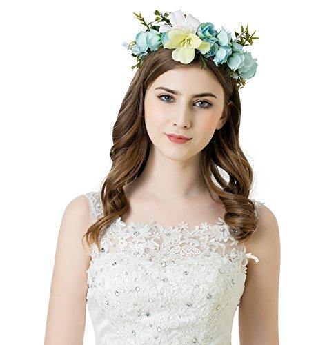 AWAYTR Blumen Stirnband Hochzeit Haarkranz Blume Krone (Blau) (Blume Kronen)