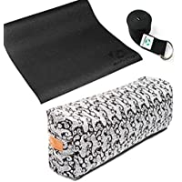 Preisvergleich für Kleines Yogabundle für dein Yogatraining zuhause bestehend aus einer rutschfesten PVC Yogamatte (4mm Dicke), einem Yogabolster mit Bio-Dinkelspelz-Füllung und einem Yogagurt aus 100% Baumwolle