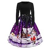 Xmiral Weihnachten Kleid Damen Elegant Vintage Xmas Print Langarm Abend Party Kostüm (L,Violett2)