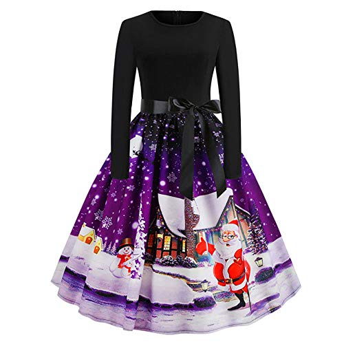 ODRD Clearance Sale【S-2XL】 Weihnachten Kleider Damen Kleid Xmas Print Prom Kostüm Vintage Santa Retro Petticoat Ballkleid Festliche Hepburn Elegant Cocktailkleid Spitze Lace Abend Swing Dress Party