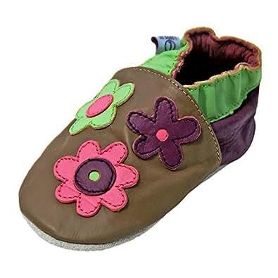Lappade Lauflernschuhe Lederpuschen Hausschuhe Babyschuhe Krabbelschuhe mit Gummisohle Gr.19-31 Schmetterling Art.82G