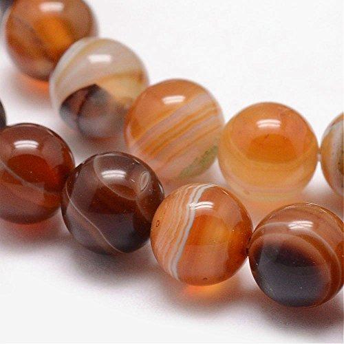 Natürliche Streifen Achat Perlen Rund Indische Braun Topas 8mm Edelsteine Halbedelstein Edelstein Perle Schmuckperlen Schmuckstein G735 für DIY Kette