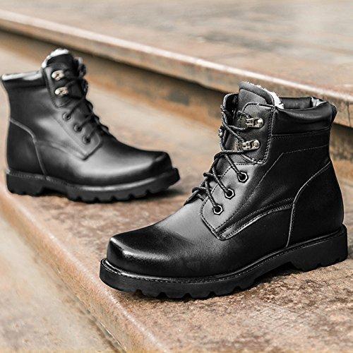WZG Bottes homme chaud hommes d'hiver chaussures en coton rembourré chaussures neige forces spéciales bottes de combat microfibres haut-dessus chaussures Martin bottes Black