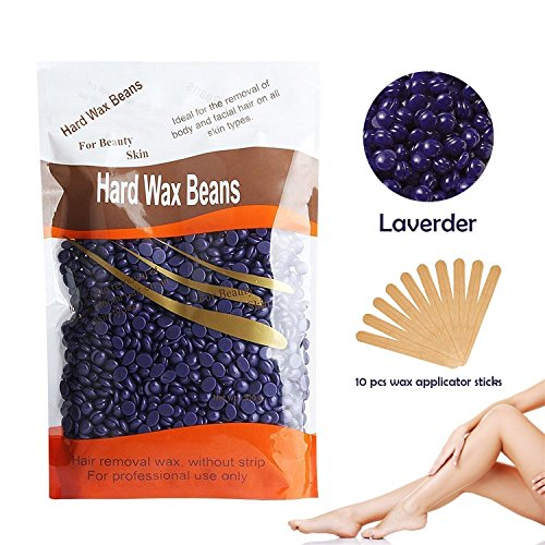 Locisne Professional Solid Depilatory Body Hair Remover Hard Wax Beans  Lavender flavor Hot Film Waxing for Men Women Body
