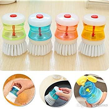 Aryshaa 4 Pcs Cleaning Brush with Soap Dispenser for Kitchen, Sink, Dish Washer (Multicolor)
