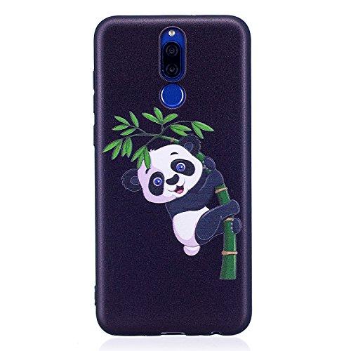 Herbests Coque Huawei Mate 10 Lite Housse en Silicone Etui Ultra Mince Slim Flexible Souple Soft Gel TPU Bumper Case Ultra Fine Anti Choc,Panda Bambou