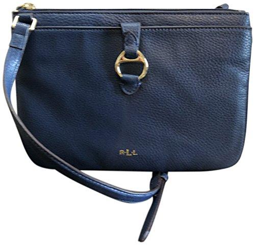 Lauren Ralph Lauren Anfield II Umhängetasche aus Leder, Marineblau