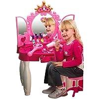 JohnMacc Glamour Mirror Girls Make Up Dressing Table, Kids Pretend Play Toy Beauty Mirror Vanity Play Set