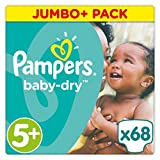 Pampers Baby Dry Windeln, Gr. 5+ (13-25 kg), Jumbo Plus Pack, 2er Pack (2 x 68 Stück)