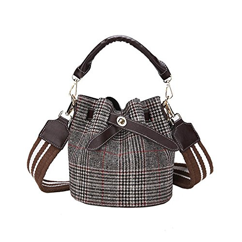 Karierte Wickeltasche (Aoligei Karierte Eimer Tasche qualitativ hochwertige Kind Paket Trend Kind Mutter Paket Mode Persönlichkeit einzelner Schulter)