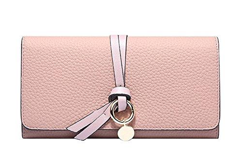Xinmaoyuan Portafogli donna estate lunga in Cuoio Portafogli fibbia rotonda girare alla borsa Lady Card Pack,Nero Rosa